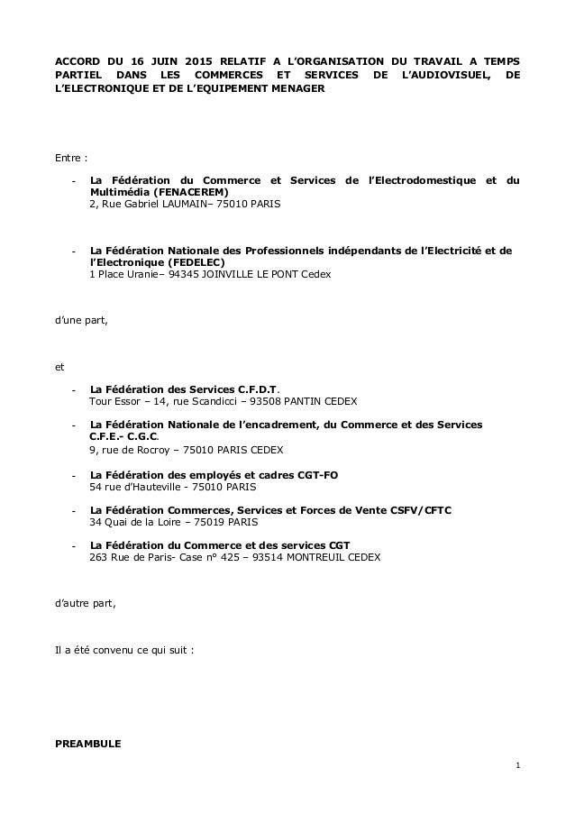 ACCORD DU 16 JUIN 2015 RELATIF A L'ORGANISATION DU TRAVAIL A TEMPS PARTIEL DANS LES COMMERCES ET SERVICES DE L'AUDIOVISUEL...