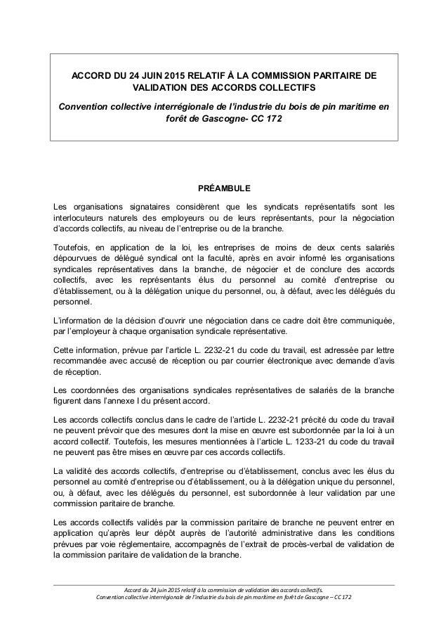 Idcc 172 Accord Relatif A La Commission Paritaire De Validation Des A