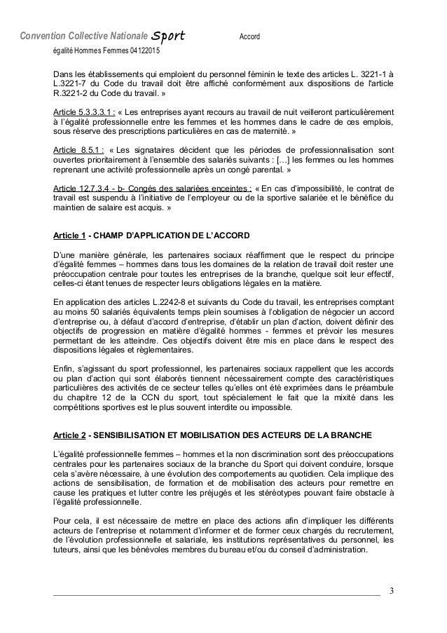 IDCC 2511 Accord égalité Femmes-Hommes