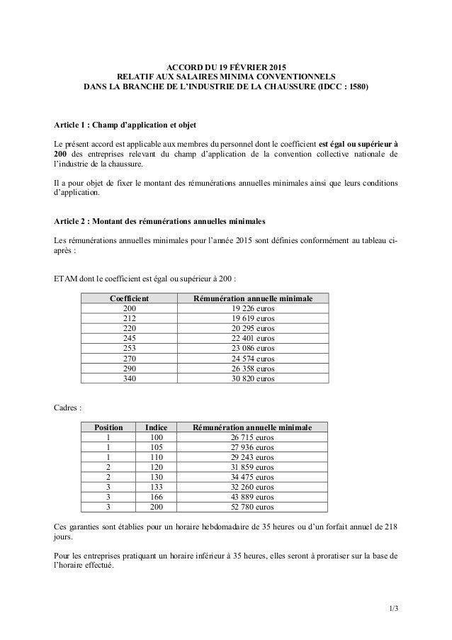 ACCORD DU 19 FÉVRIER 2015 RELATIF AUX SALAIRES MINIMA CONVENTIONNELS DANS LA BRANCHE DE L'INDUSTRIE DE LA CHAUSSURE (IDCC ...