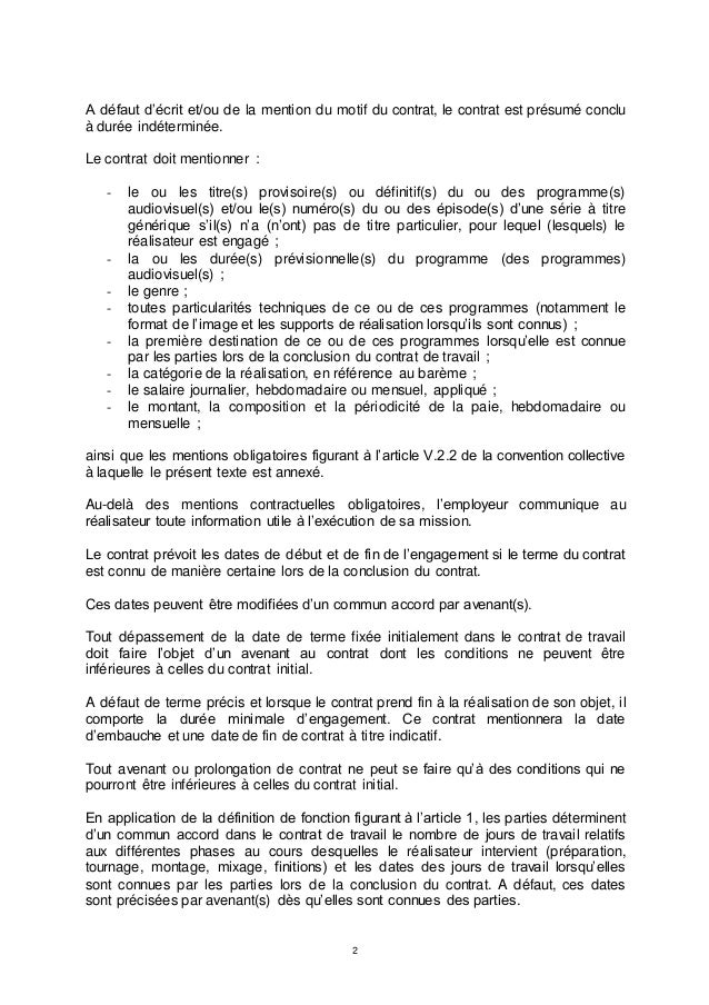mention obligatoire d un contrat de travail IDCC 2642 Annexe relatif au contrat de travail d'un réalisateur dans … mention obligatoire d un contrat de travail