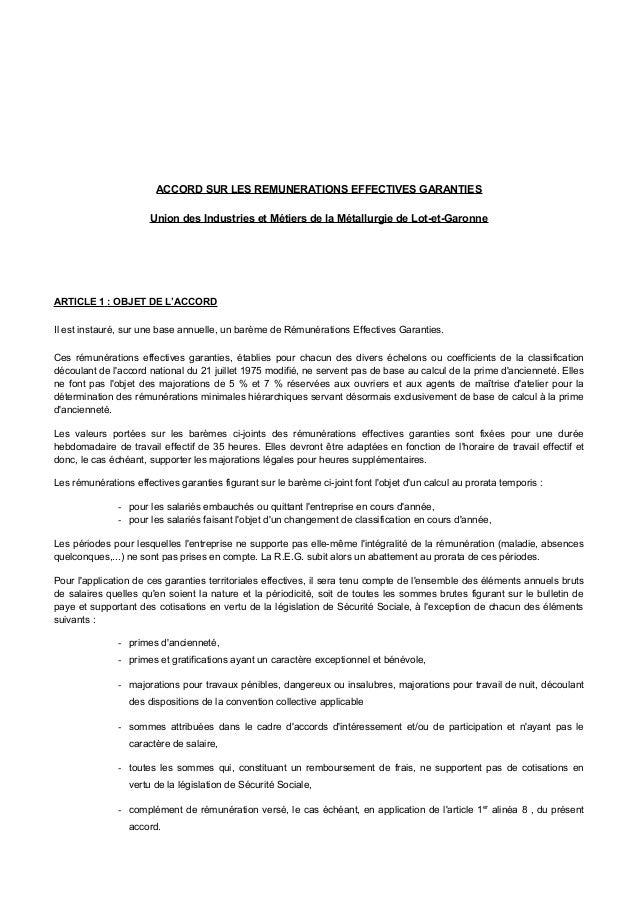 ACCORD SUR LES REMUNERATIONS EFFECTIVES GARANTIES Union des Industries et Métiers de la Métallurgie de Lot-et-Garonne ARTI...