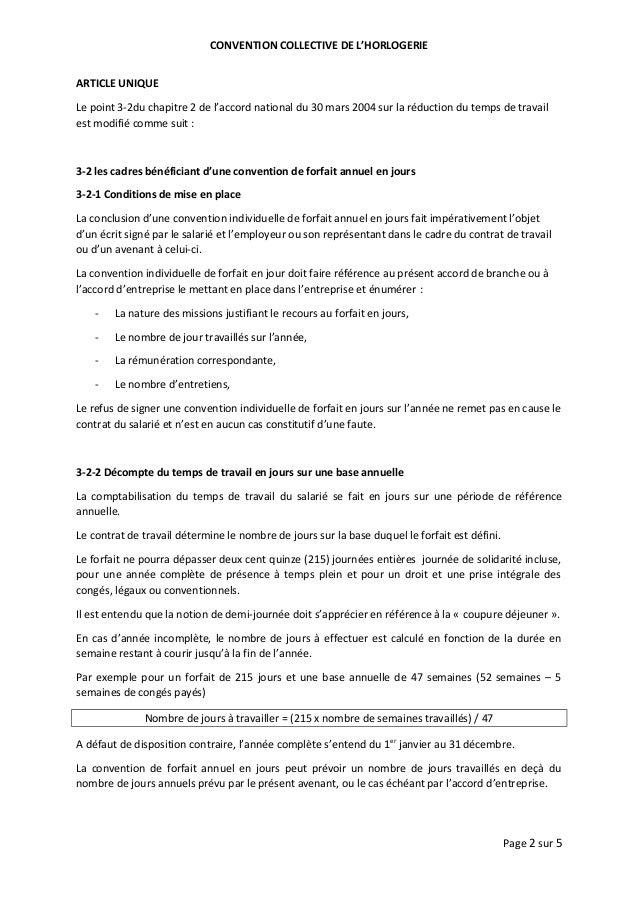Idcc 1044 Accord Sur Le Forfait Jour Dans La Ccn De L Horlogerie