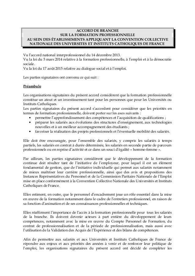ab5b1d023e2 ACCORD DE BRANCHE SUR LA FORMATION PROFESSIONNELLE AU SEIN DES  ÉTABLISSEMENTS APPLIQUANT LA CONVENTION COLLECTIVE NATIONAL ...