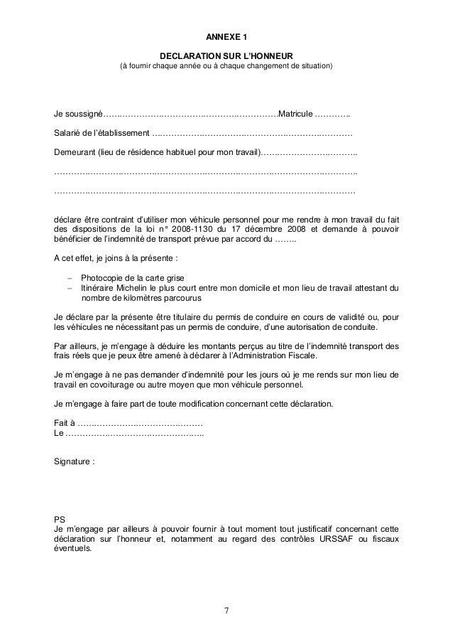 Modele Attestation Indemnites Kilometriques Document Online