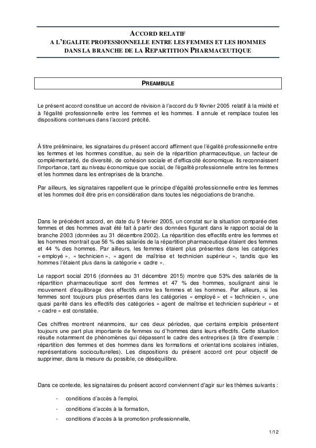 1/12 ACCORD RELATIF A L'EGALITE PROFESSIONNELLE ENTRE LES FEMMES ET LES HOMMES DANS LA BRANCHE DE LA REPARTITION PHARMACEU...