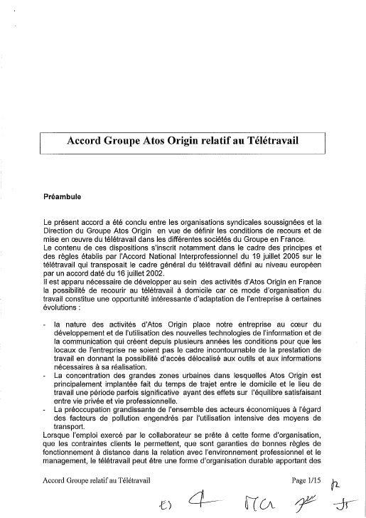 Atos Origin : accord groupe télétravail