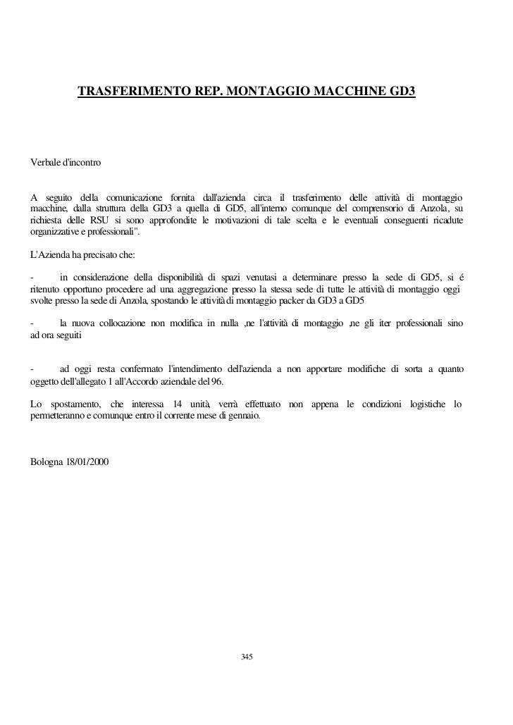 TRASFERIMENTO REP. MONTAGGIO MACCHINE GD3Verbale dincontroA seguito della comunicazione fornita dallazienda circa il trasf...