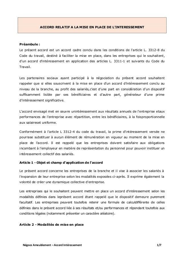Idcc 1880 Accord Interessement