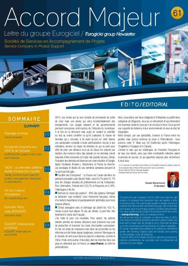 Accord Majeur  61  Lettre du groupe Eurogiciel / Eurogiciel group Newsletter Société de Services en Accompagnement de Proj...