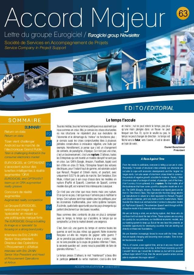Accord Majeur  Lettre du groupe Eurogiciel / Eurogiciel group Newsletter  Société de Services en Accompagnement de Projets...