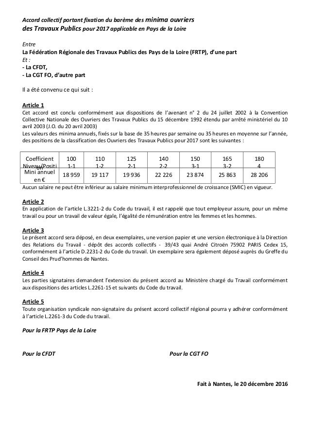 Accord collectif portant fixation du barème des minima ouvriers des Travaux Publics pour 2017 applicable en Pays de la Loi...