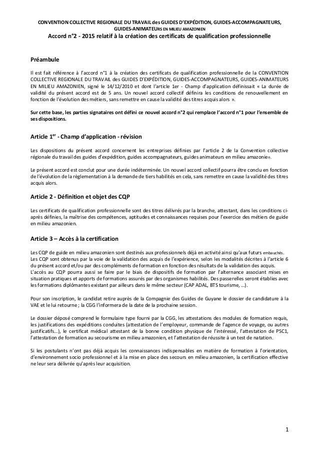 CONVENTION COLLECTIVE REGIONALE DU TRAVAIL des GUIDES D'EXPÉDITION, GUIDES-ACCOMPAGNATEURS, GUIDES-ANIMATEURS EN MILIEU AM...