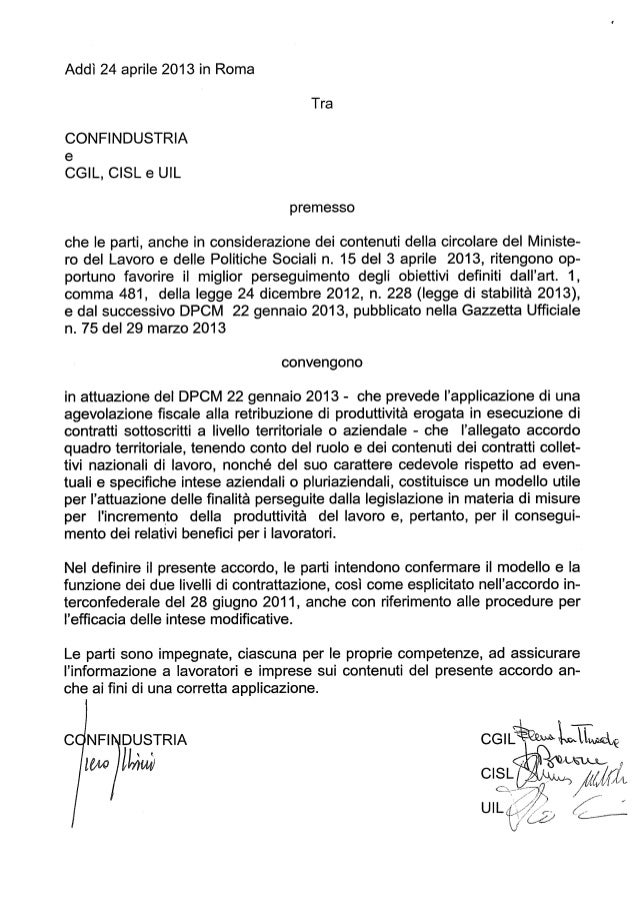 Accordo confindustria detassazione_24aprile2013