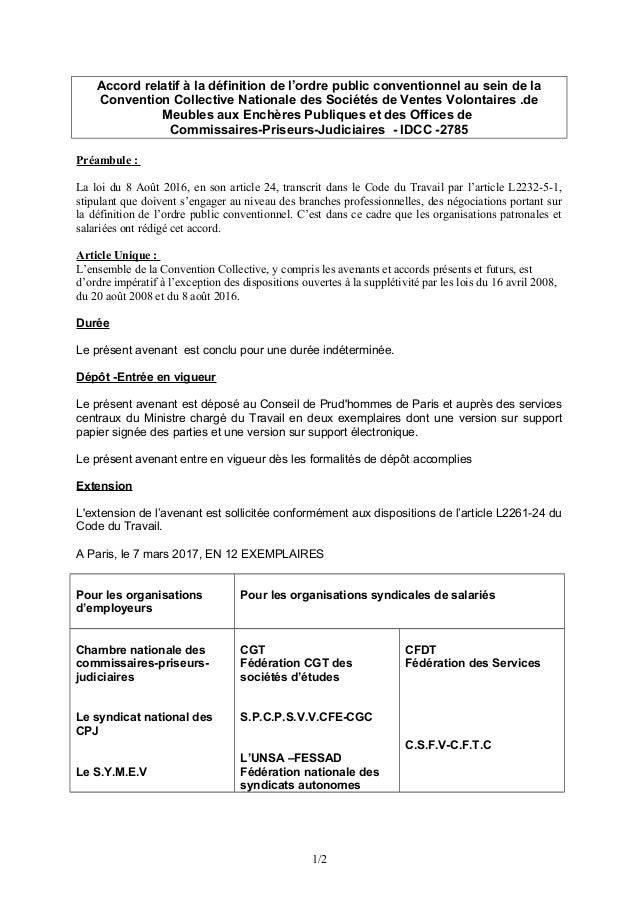 Accord Relatif à La Définition De Lu0027ordre Public Conventionnel Au Sein De  La Convention