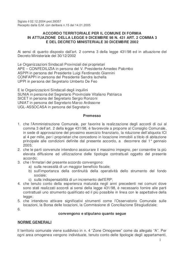 Accordo territoriale comune di formia contratto concordati for Contratto affitto