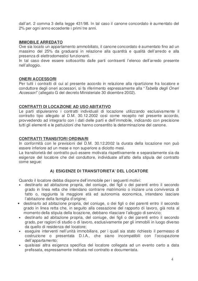 Accordo territoriale comune di formia contratto concordati for Contratto di locazione immobile arredato