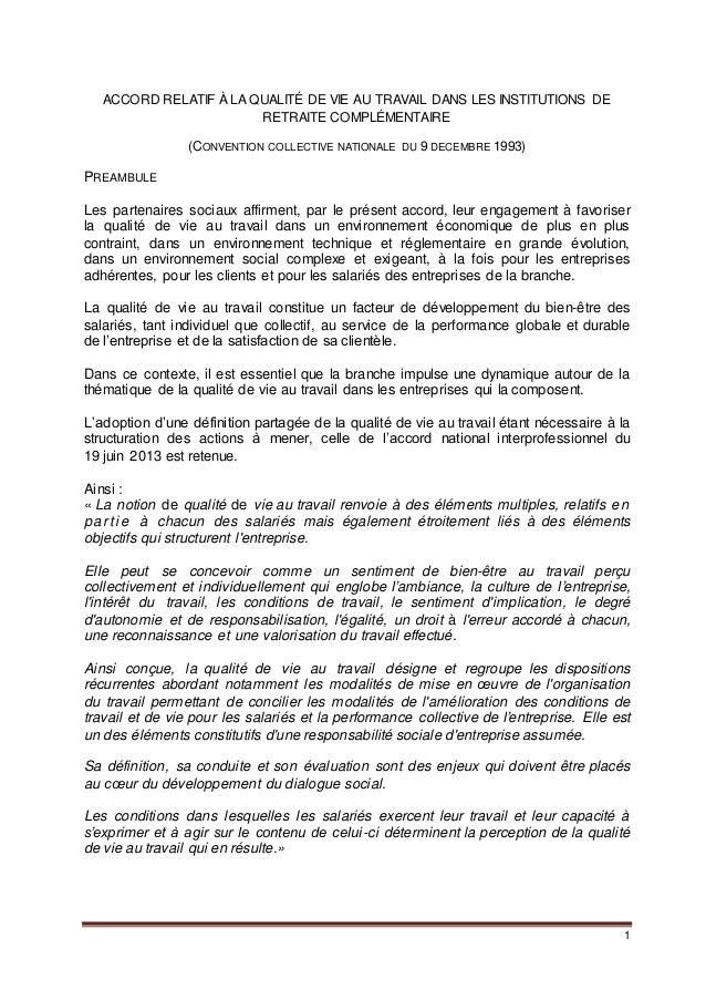 1 ACCORD RELATIF À LA QUALITÉ DE VIE AU TRAVAIL DANS LES INSTITUTIONS DE RETRAITE COMPLÉMENTAIRE (CONVENTION COLLECTIVE NA...