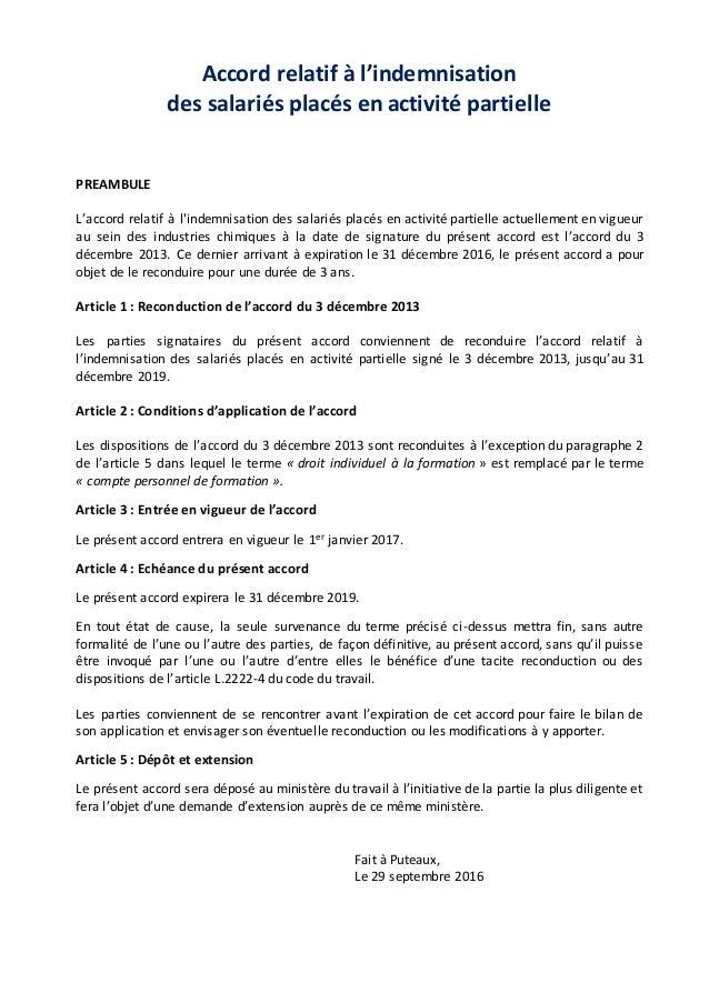 Accord relatif à l'indemnisation des salariés placés en activité partielle PREAMBULE L'accord relatif à l'indemnisation de...