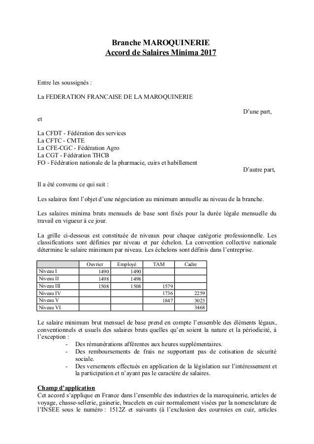 Idcc 2528 Accord Sur Les Salaires Dans La Ccn De La Maroquinerie