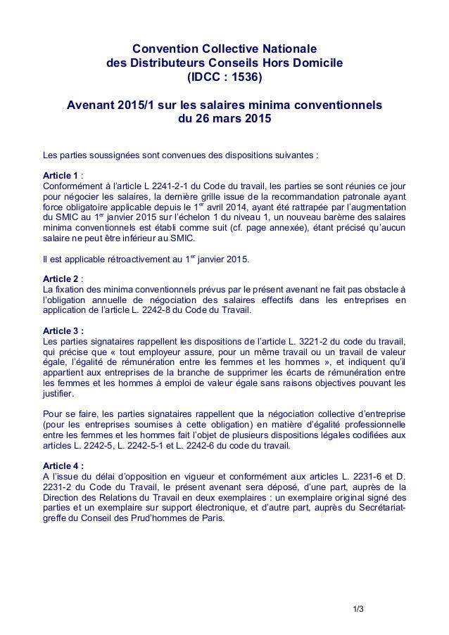 Convention Collective Nationale des Distributeurs Conseils Hors Domicile (IDCC : 1536) Avenant 2015/1 sur les salaires min...