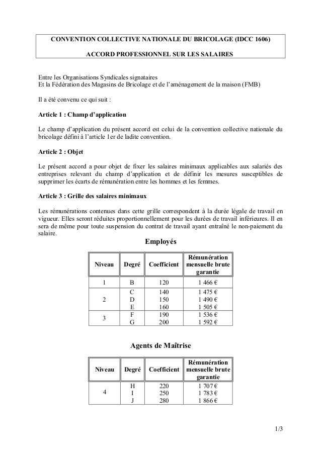 Idcc 1606 accord professionnel sur les salaires minimaux - Grille salaire contractuel education nationale ...