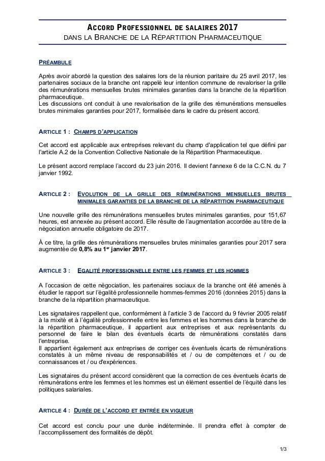 ACCORD PROFESSIONNEL DE SALAIRES 2017 DANS LA BRANCHE DE LA RÉPARTITION PHARMACEUTIQUE PRÉAMBULE Après avoir abordé la que...