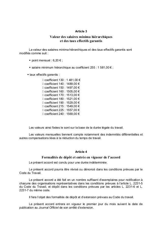 Idcc 45 Accord Salaires Minima 10 Mars 2016