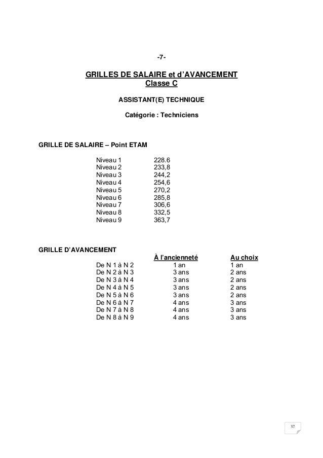Accords collectifs portant statut du personnel des - Grille salaire adjoint technique 2eme classe ...