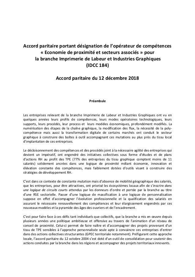 Accord paritaire portant désignation de l'opérateur de compétences « Economie de proximité et secteurs associés » pour la ...