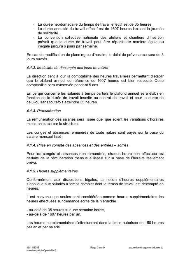 Idcc 3016 Accord Sur L Amenagement Du Temps De Travail