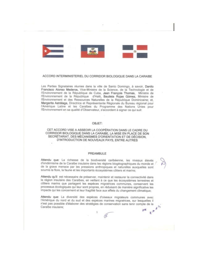Accord tripartite sur le Corridor Biologique de la Caraibe 13 nov 2014