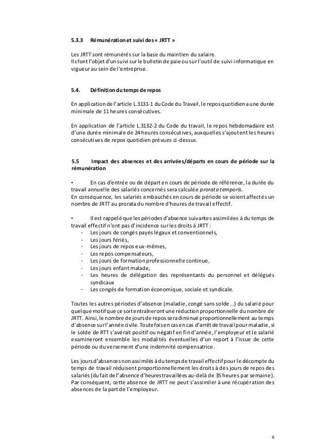 Idcc 176 Accord Temps De Travail 17 11 2016