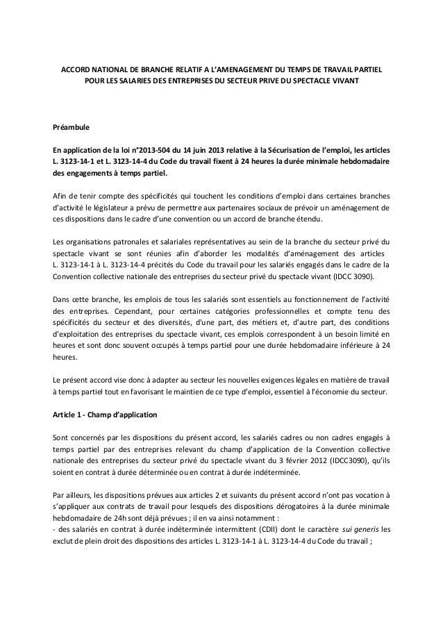 35129c7582a ACCORD NATIONAL DE BRANCHE RELATIF A L AMENAGEMENT DU TEMPS DE TRAVAIL  PARTIEL POUR LES ...