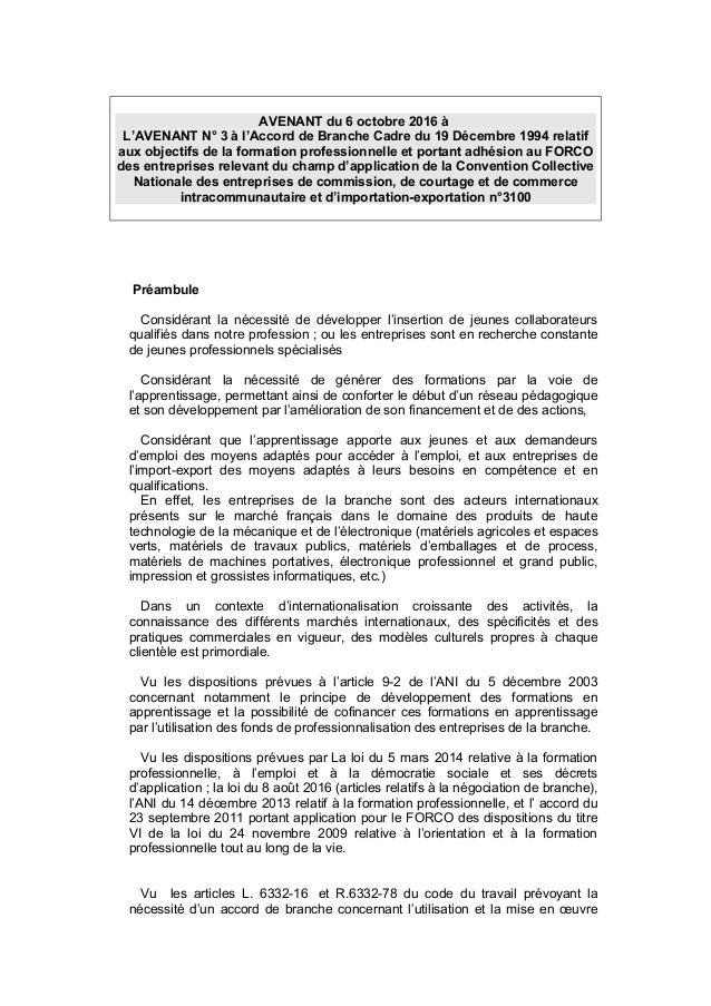 AVENANT du 6 octobre 2016 à L'AVENANT N° 3 à l'Accord de Branche Cadre du 19 Décembre 1994 relatif aux objectifs de la for...