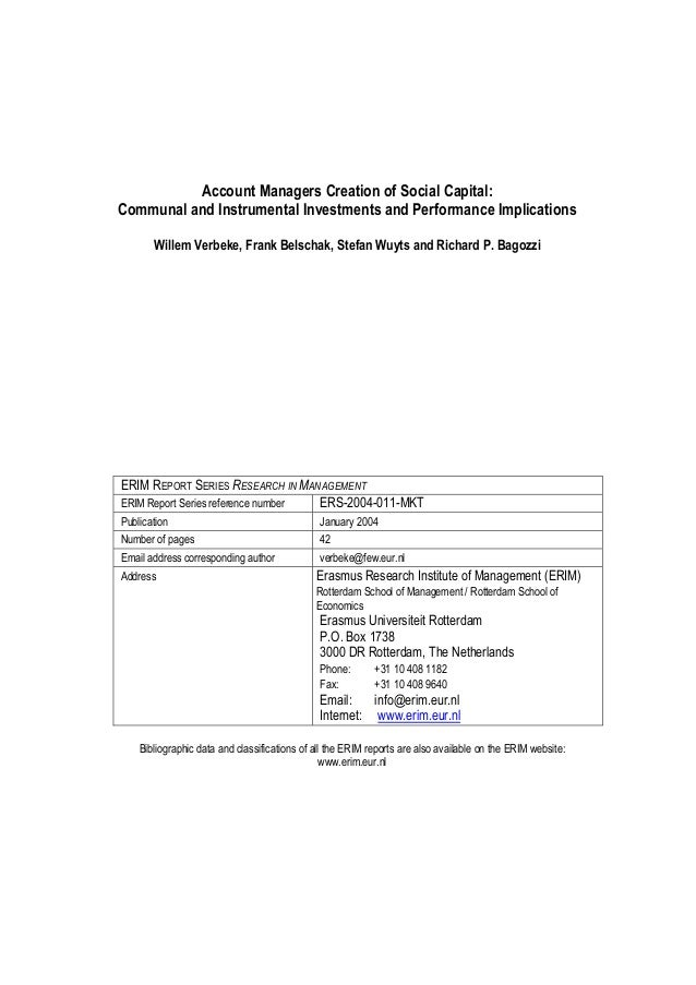 Account Managers Creation of Social Capital: Communal and Instrumental Investments and Performance Implications Willem Ver...