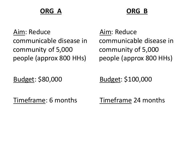 ORG A Aim: Reduce communicable disease in community of 5,000 people (approx 800 HHs) Budget: $80,000 Timeframe: 6 months O...