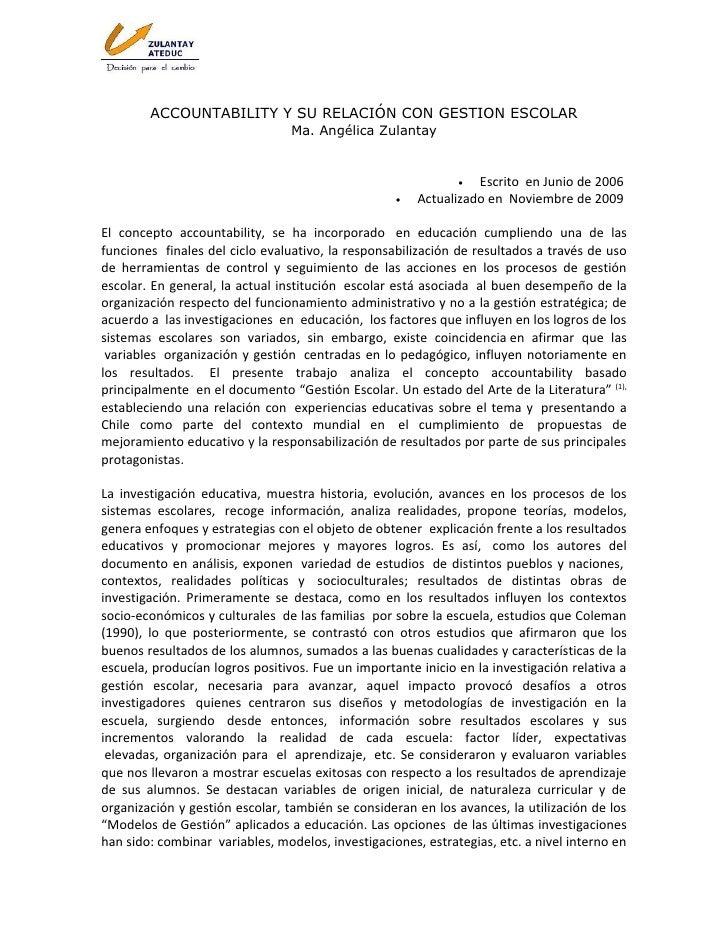 ACCOUNTABILITY Y SU RELACIÓN CON GESTION ESCOLAR                                  Ma. Angélica Zulantay                   ...