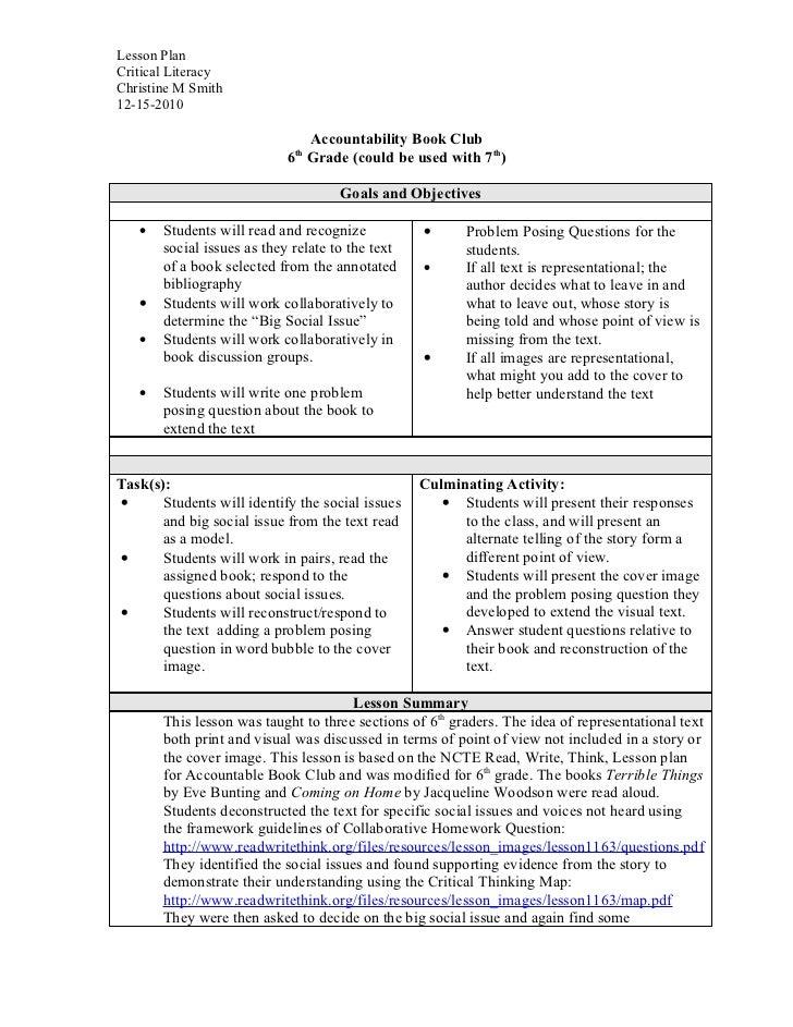 Accountable book club lesson plan