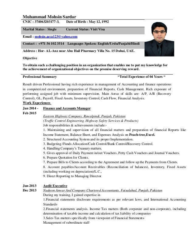 Resume Sample Resume Of Accountant In Dubai Accountant C V Dubai Muhammad  Mohsin Sardar Cnic 374063203177 3  Resume For Accountant