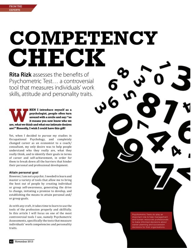 COMPETENCY CI-IECK N ,   Rita Rizk assesses the benefits of Q R O  Psychometric Test. .. a controversial tool that measures...