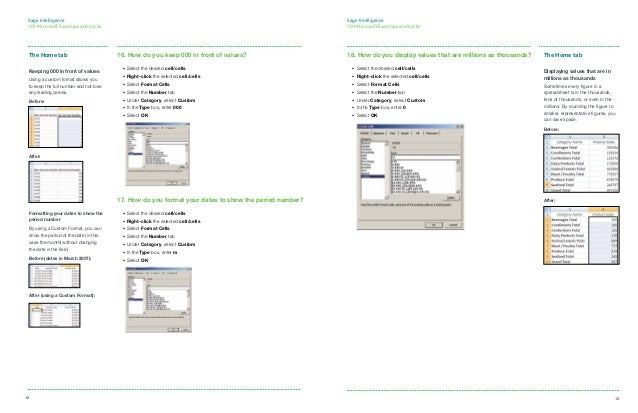 Sage Intelligence 101 Microsoft® Excel® tips and tricks