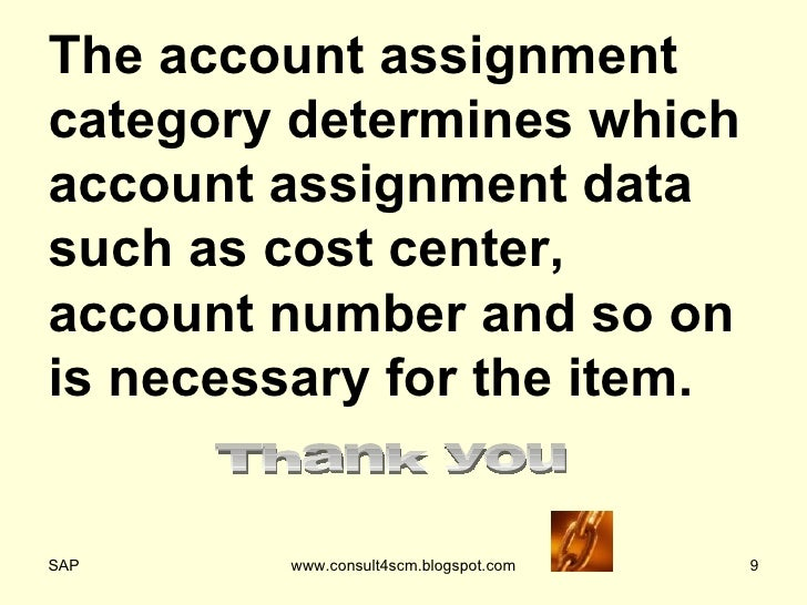 account assignment category Hi all can anybody explain me about the account asignment category in mm1what is the significance of account assignment category in mm 2what are the spro activities we have do for the same thankssap-mm.