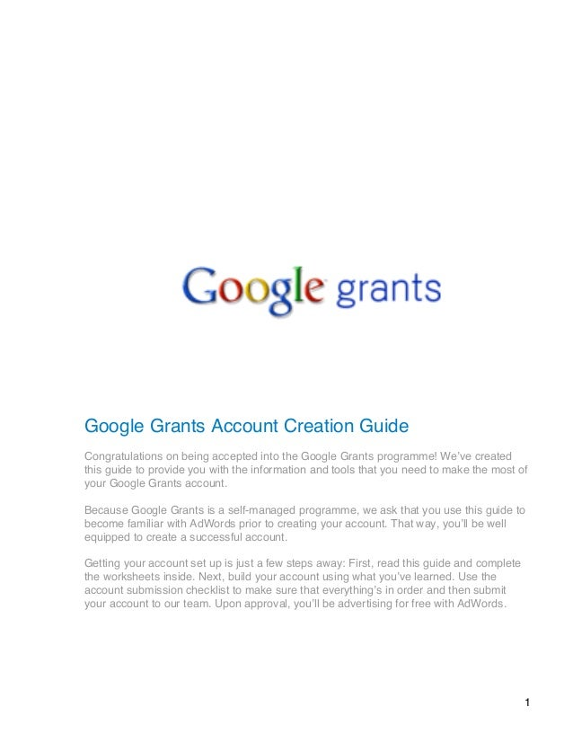 account creation guide google grants rh slideshare net Google Finance Grant Money Available