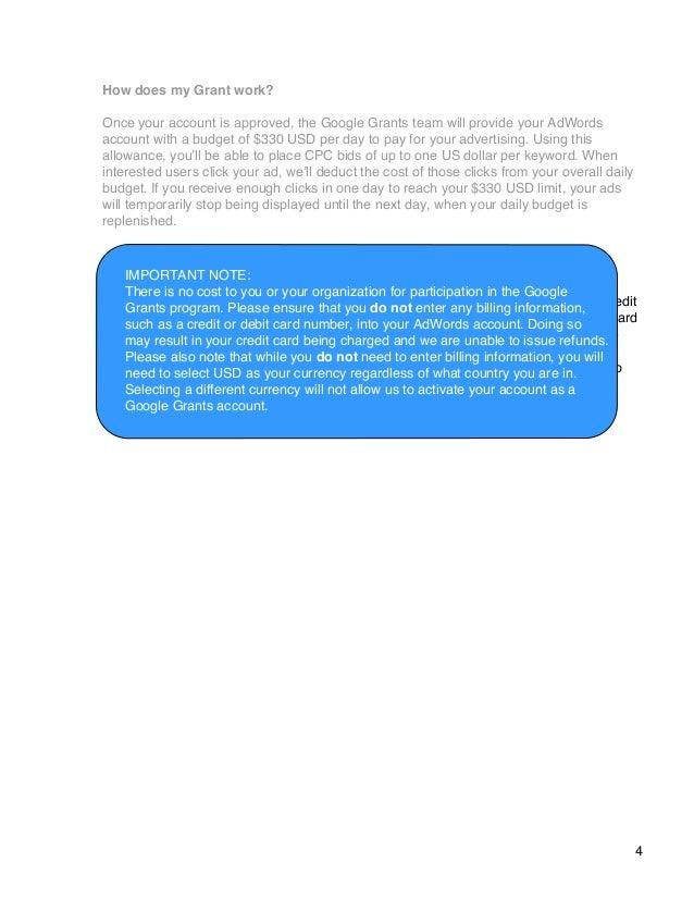 account creation guide google grants rh slideshare net Grant Money Clip Art Google Finance