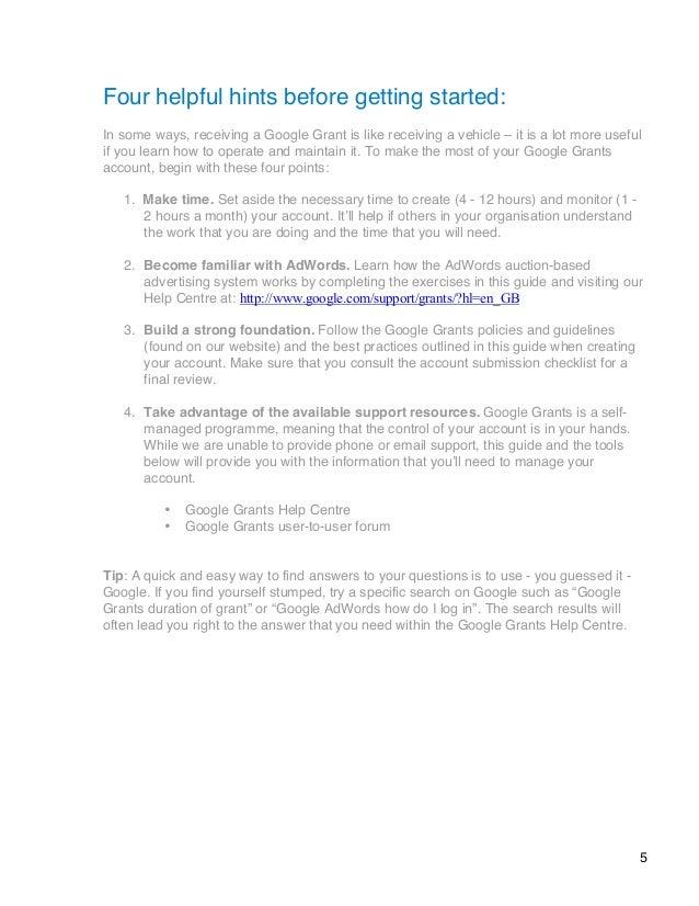 account creation guide google grants rh slideshare net Grant Community Google Giving Grants