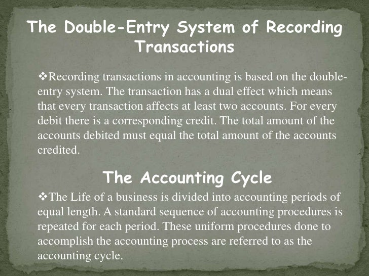 The Double-Entry System of Recording Transactions<br /><ul><li>Recording transactions in accounting is based on the double...