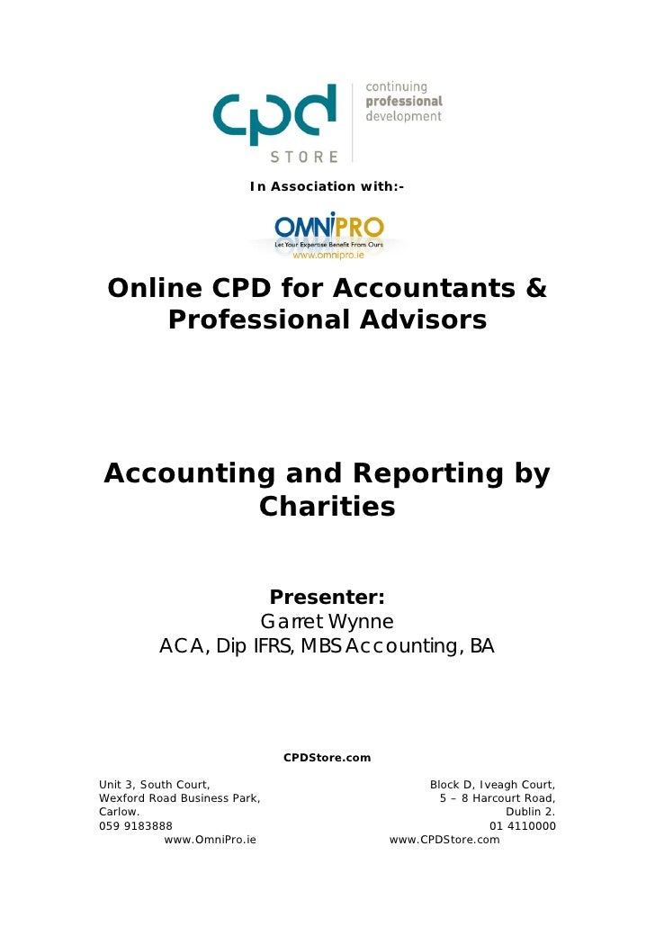 In Association with:- Online CPD for Accountants &     Professional AdvisorsAccounting and Reporting by         Charities ...