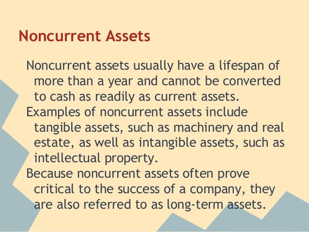 current and noncurrent assets Noncurrent assets are cleverly defined as anything not classified as a current asset the main line items in this section are long-term investments property, plant, and equipment (pp&e) and .