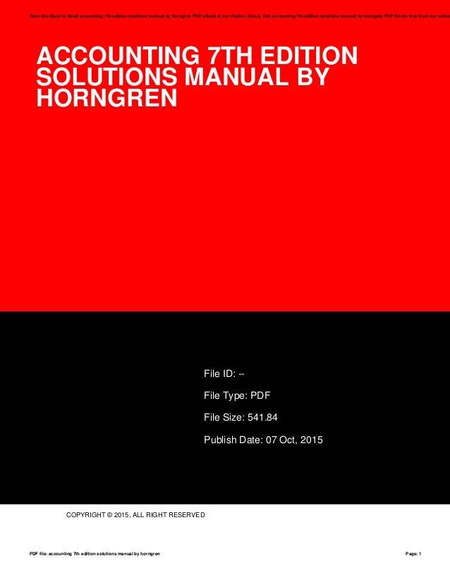Solutions manual horngren ebook array accounting 7th edition solutions manual by horngren rh slideshare net fandeluxe Image collections